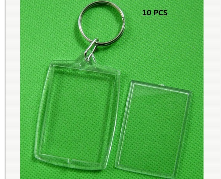 Blank Acrylic Insert Photo Picture Frame Keyring Keychain DIY Split Ring Key Chain Gift 5pcs/Lot Rectangle Transparent
