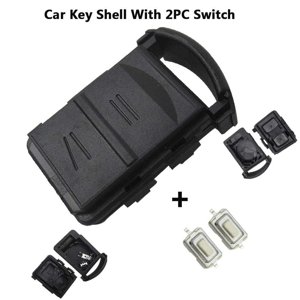 Okeytech remoto chave do carro caso capa escudo fob 2 botões & 2 micro interruptor suporte da bateria para vauxhall opel corsa agila meriva combo