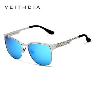 Image 3 - VEITHDIA ماركة نظارات الفولاذ المقاوم للصدأ نظارات شمسية مستقطبة UV400 عدسة الرجال الذكور نظارات للرجال/النساء الأزرق عدسات عاكسة 3580