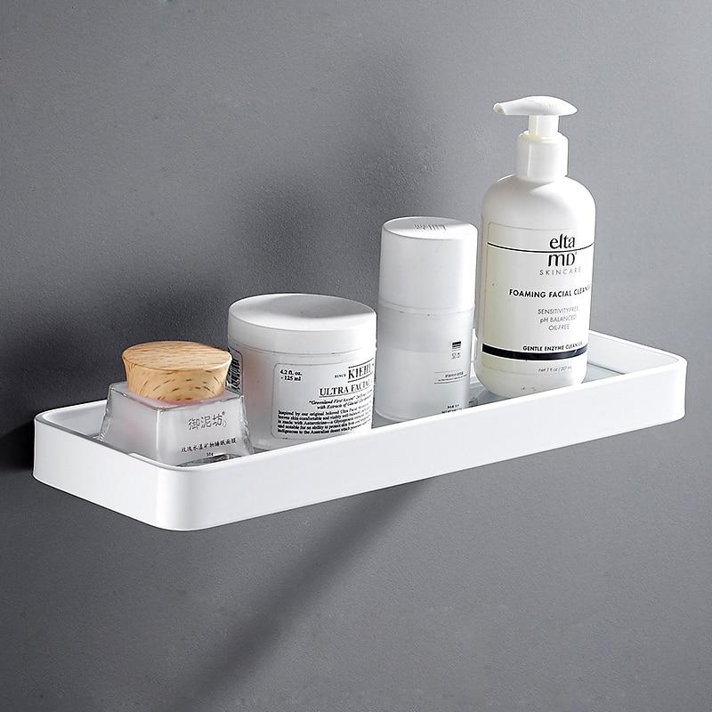 Prateleira do Banheiro de Alumínio Acessório do Banheiro Branco Quadrado Chuveiro Shampoo Titular Sabão Prateleira Canto Organizador Armazenamento Rack