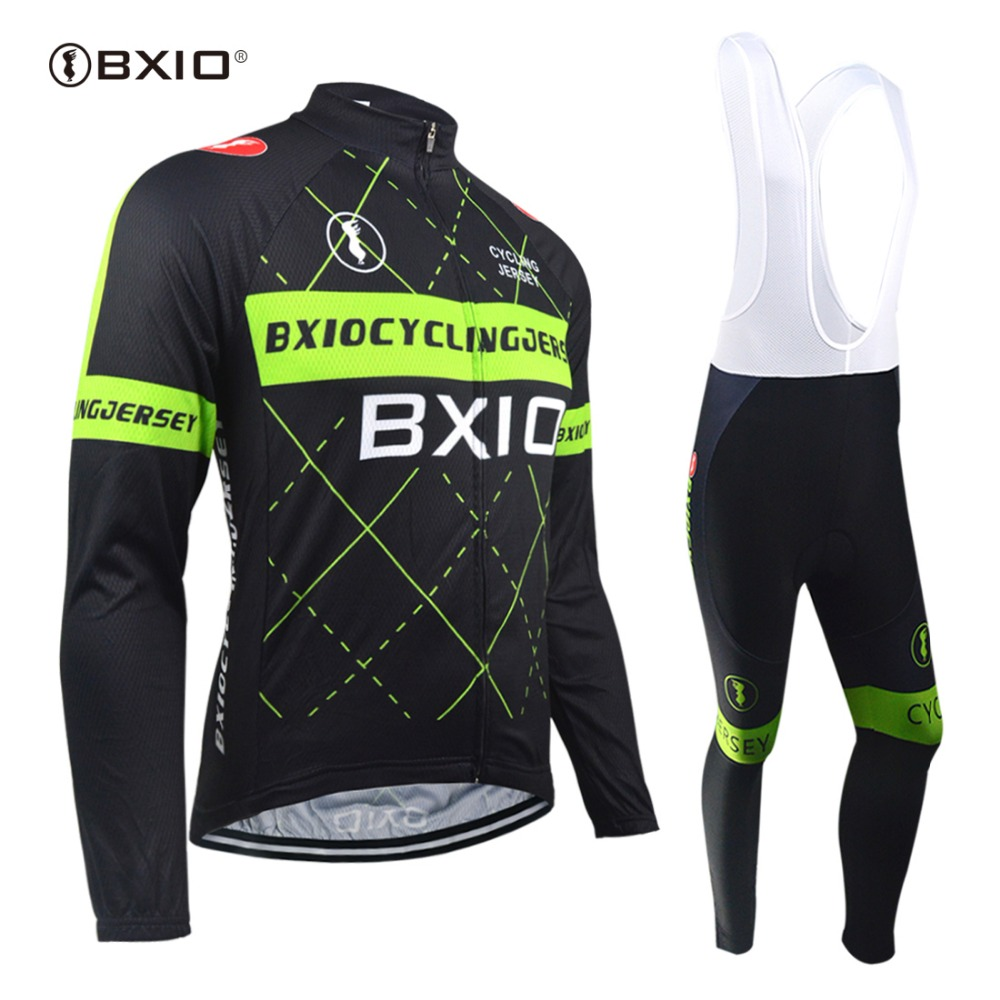 BXIO Men's Long Sleeve Cycling Jersey Breathable Full Zipper 3D Padded Bicycle Sportswear Cycling Sets Clothings BX-0109HG018 wosawe men s long sleeve cycling jersey sets breathable gel padded mtb tights sportswear for all season cycling clothings