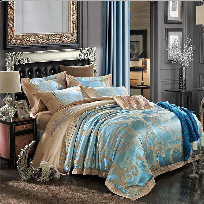 Europe Style Bedding Set Silk 4pcs Gold Beige Blue Noble