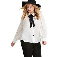 Plus Size Single Breasted Women Blouse Bow Lapel Neck ladies Top Casual Long Shirt 3XL 4XL 5XL 6XL For Wholesale