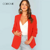 COLROVIE Red Solid Workwear Shawl Collar Women Blazer Feminino 2018 New Ladies Blazer Office Suit Elegant Women Outwear Coat