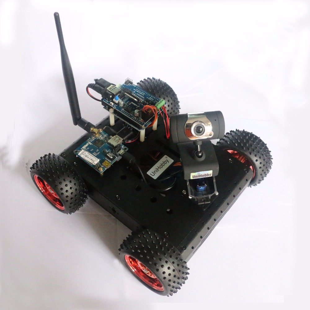 WiFi Robot Car Kit UniHobby HB600Pro 4WD Arduino Robot Car Chassis Kits with iOS / Android APP and PC Control Software FPV Car