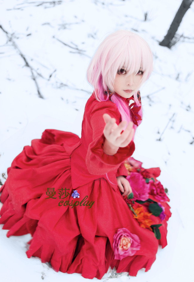 2016 Guilty Crown GC YUZURIHA INORI red flowers cosplay costume Custom Made