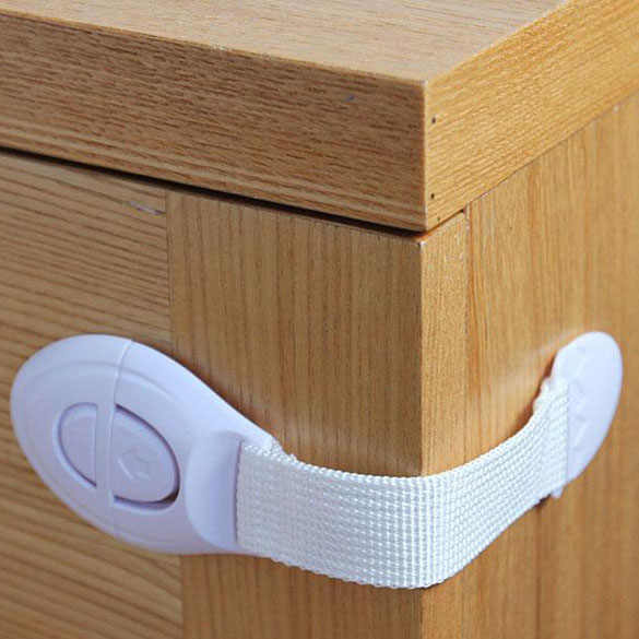 Baby Safety Lock Drawer Or Toilet Lock Cloth Belt Lock Multi-function Drawer Ambry Cabinet Straps Belt Safety White