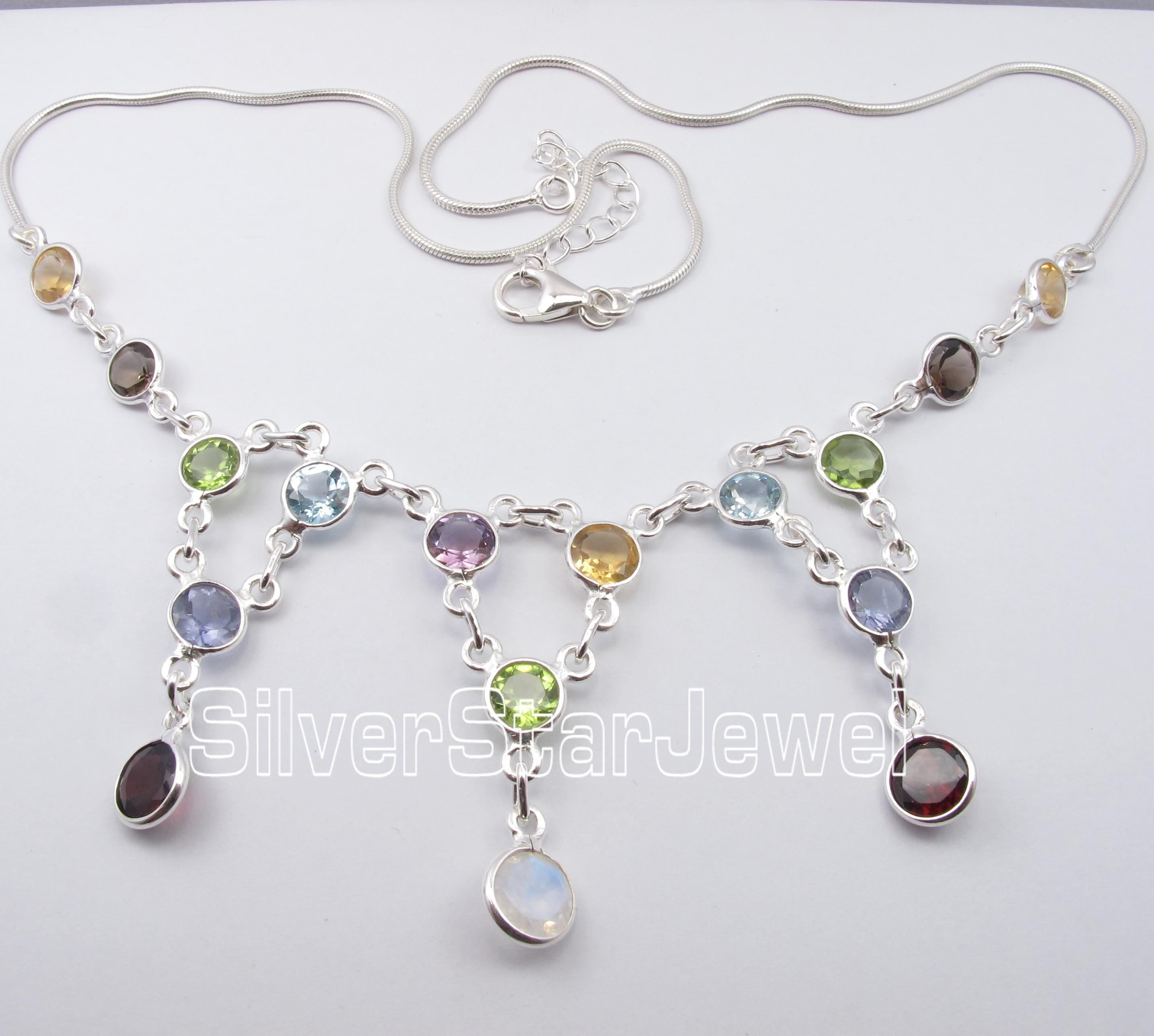 Chanti международных чистого серебра multistones змея цепи свадьбы, праздничная одежда Цепочки и ожерелья 49.3 см новые