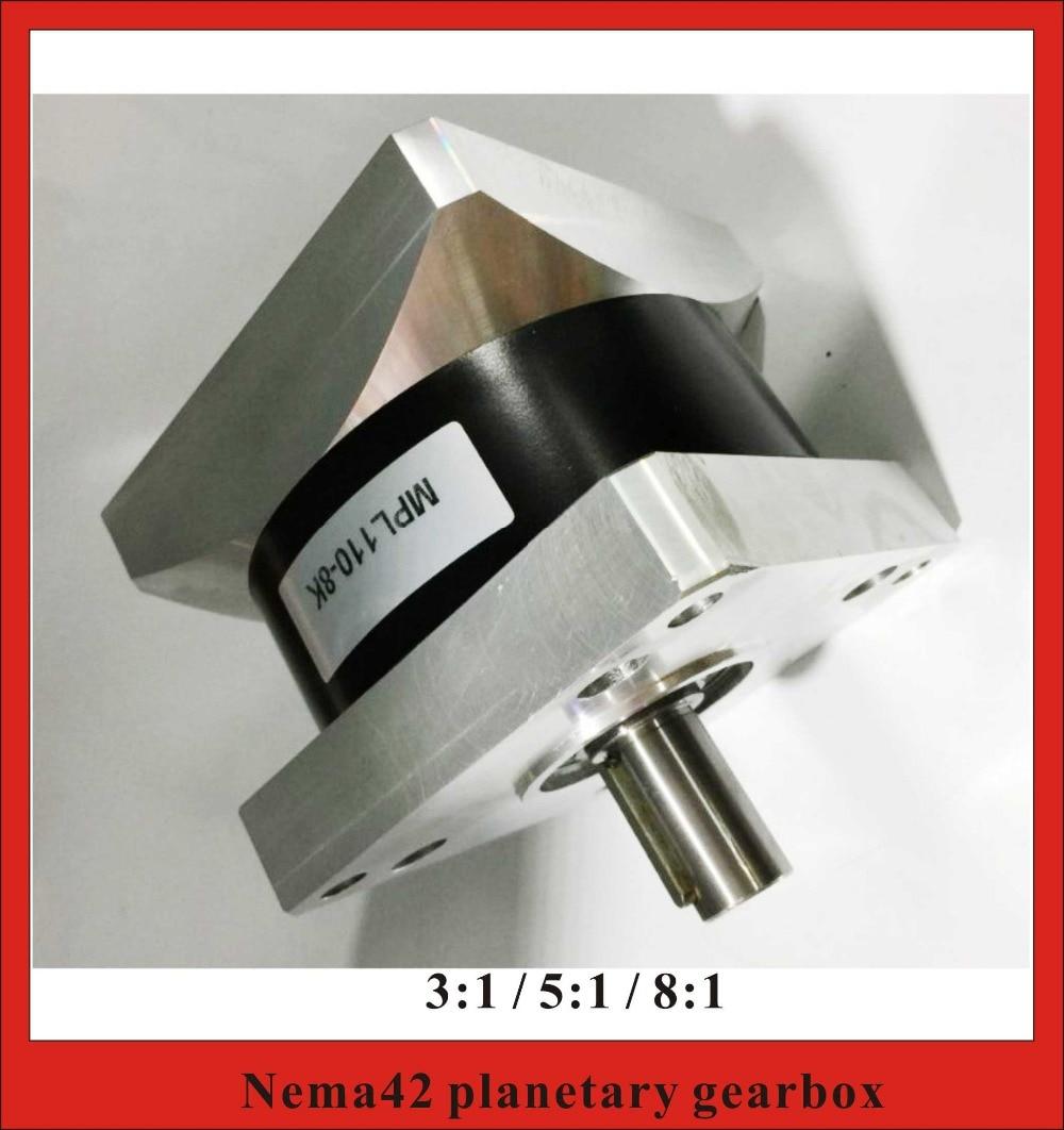 Шестерни соотношение 3:1 5:1 8:1 NEMA42 планетарный Шестерни коробка для Nema 42 Шестерни ED Шаговые двигатели 230n. м (31944oz-in) Номинальная нагрузка