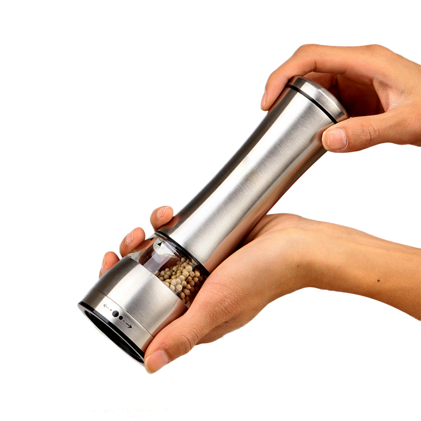 High Quality Silvery Thumb Push Salt Stainless Steel Pepper Grinder Spice Sauce Mill Grind Stick Tool