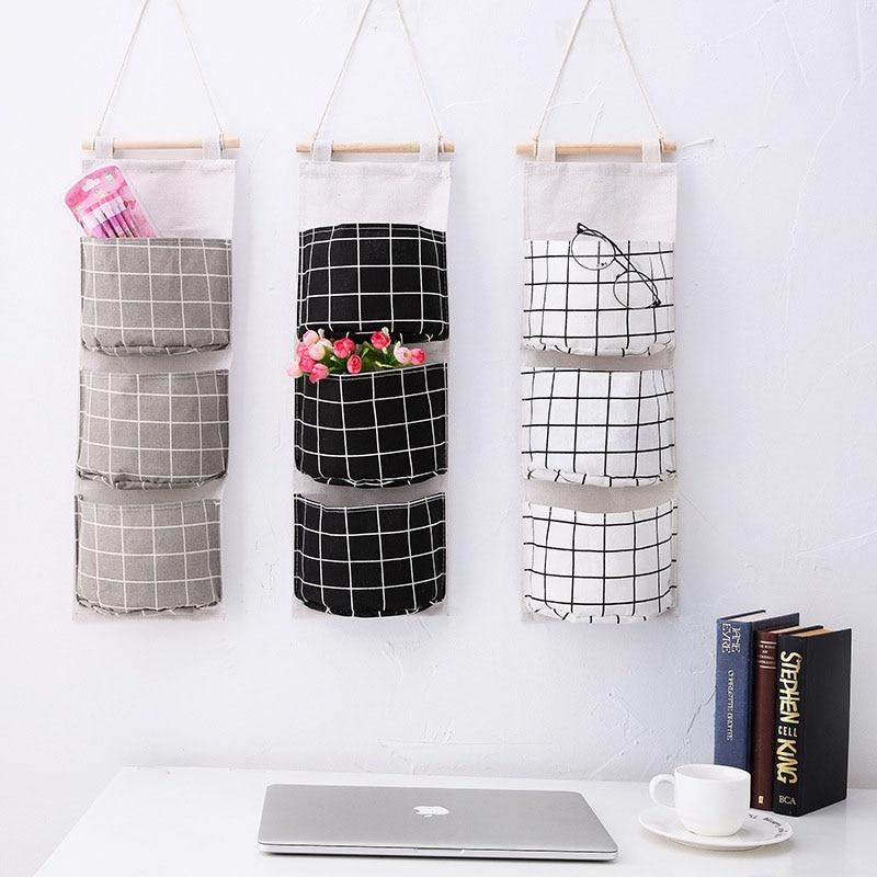 Image 2 - New Organizer Foldable Plaid Hanging Pocket Storage Bag Bonsai Phone Hang Wall Home Dormitory Hanging Organizador 2019 Hot-in Hanging Organizers from Home & Garden