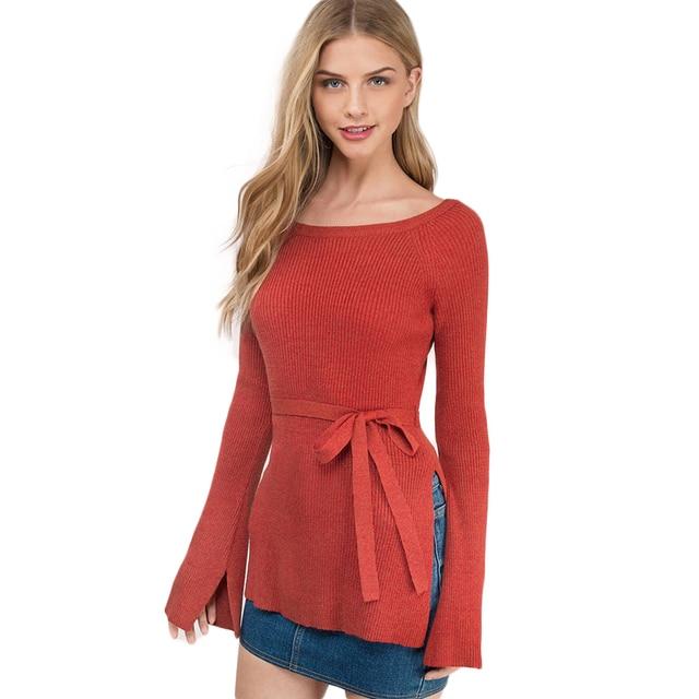 Long Sleeve Bandage Red Sweater Women Notch Warm Pullover Harajuku