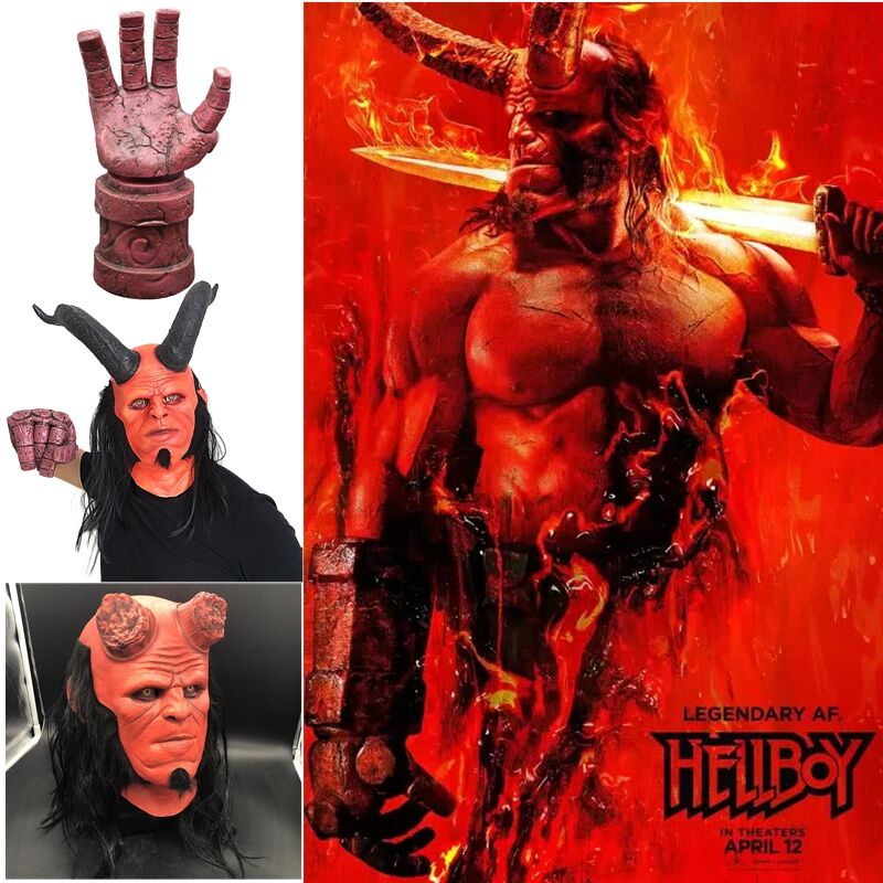 2019 New movie Hellboy  Head Mask Halloween Fancy Dress Cosplay Props Latex Masks gloves Mask