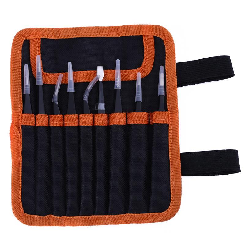 9 unids/pack ESD pinzas Set Acero inoxidable Anti-estática pinzas de precisión para electrónica teléfono móvil reparación herramientas Kit no antideslizante