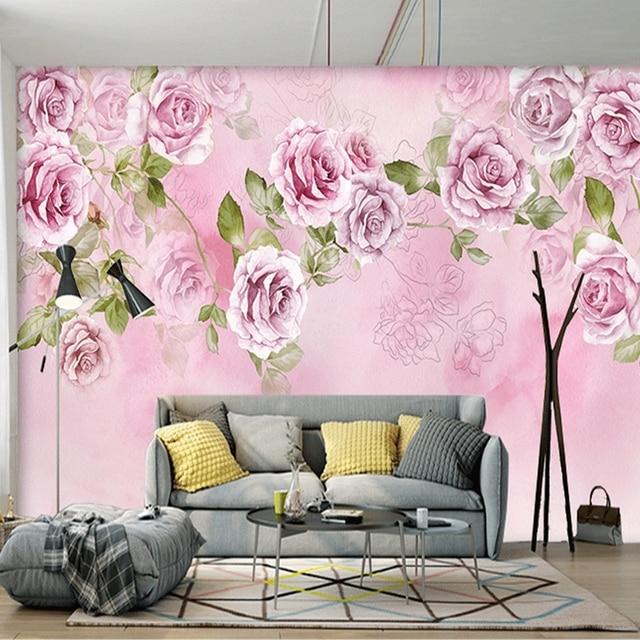 Aliexpress Com Buy Custom Photo Wallpaper 3d Floral Purple Rose Silk Background Modern Simple Romantic Living Room Bedroom Wall Design Mural Paper