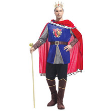 Adult Men Medieval Renaissance Noble King Arthur Costume Halloween Purim Party Carnival Cosplay Outfit