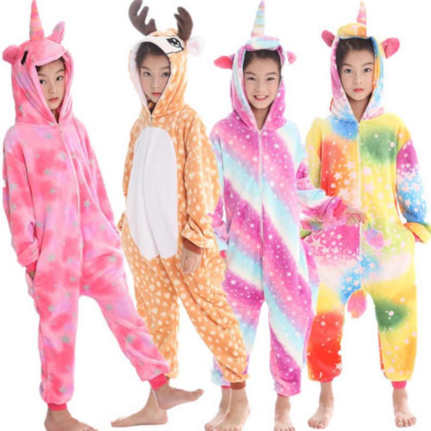 7be8922f37f0 Кигуруми Дети пижамы для мальчиков для девочек с единорогом животных Олень  ребенок Pijamas Косплэй зимние теплые