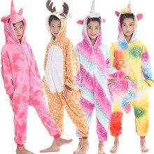 Kigurumi детские пижамы единорог для мальчиков и девочек Onesie Дети животных Олень Детские Пижамы Зимние Детские пижамы пижма в виде панды