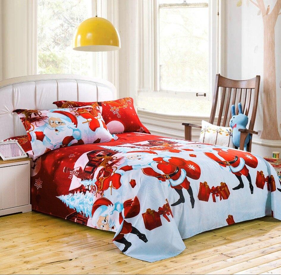 luxury Superfine polyester fiber beddings Home textiles Christmas bedsheet duvet cover pillowcases dekbedovertrek - Santa Claus