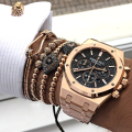 Hot Men Bracelet,24K Gold Plated Beads & 6mm Pave Setting Black CZ Evil Eye Connector Braiding Men Macrame Bracelet