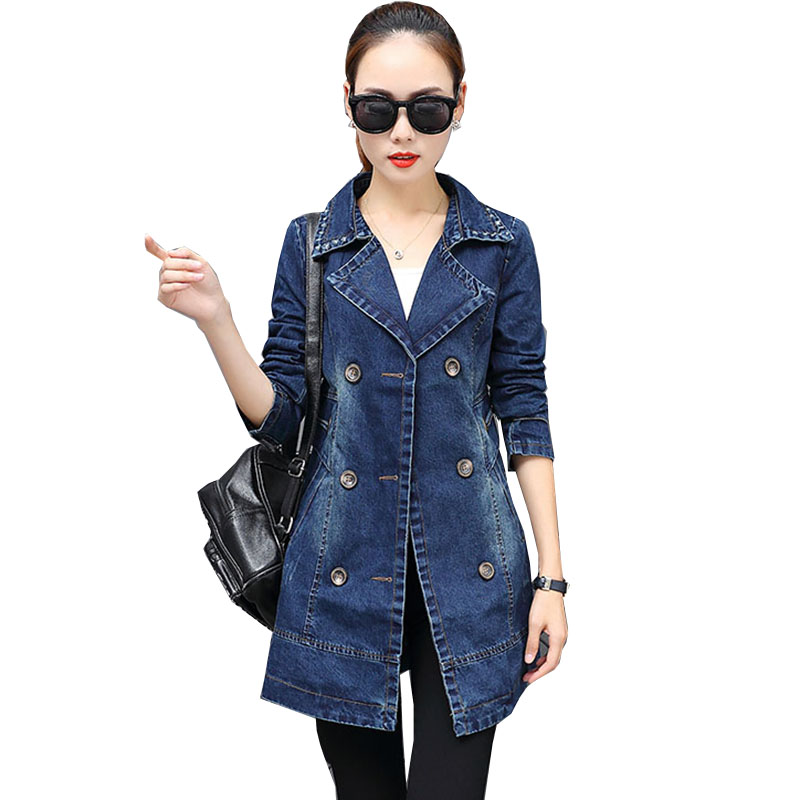 Trench   denim coat women New fashion Double-breasted long large size loose cowboy windbreaker Slim female Outwear Jaqueta NW653