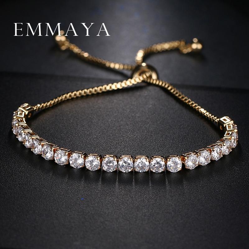 Emmaya Classic Bling Crystal Beads Friendship Bracelet White Zircon Adjustable Bracelets for Women Beaded Cheap Bracelet