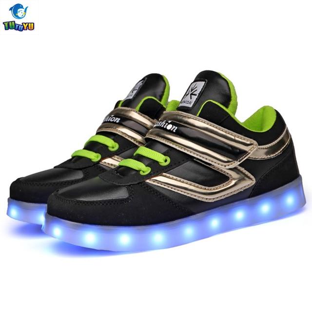 1cb0e1e7a31 TUTUYU LED USB Opladen Schoenen Mand Led Hoge Top Kinderen schoenen Met  Licht Up Kids Casual