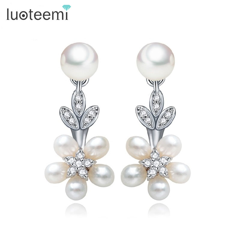 LUOTEEMI  Luxury 5pcs Natural Freshwater Pearls Statement Stud Earrings For Women Noble Bijoux Bridesmaid Wedding Jewelry Gift