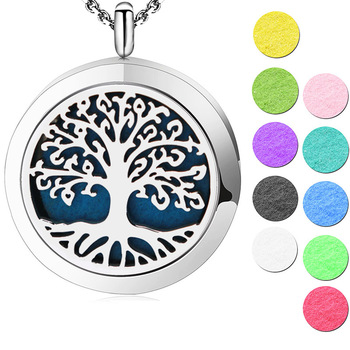 Silver Jewelry  Tree of Life  AromJewelry atherapy Essential Oils Stainless Steel pendant Perfume Diffuser Locket Necklace