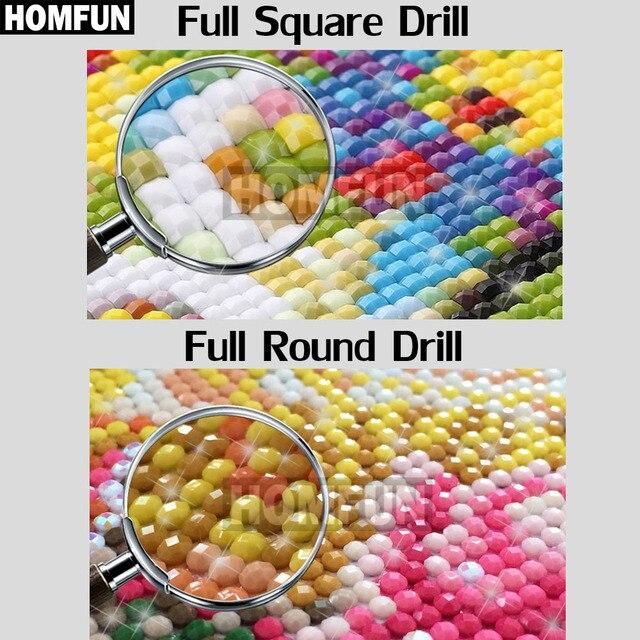 HOMFUN-perceuse carrée ronde 5D diy | Peinture au diamant avec