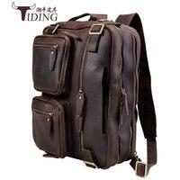 Backpacks Multi Function Crazy Horse Genuine Leather Brand Backpack Travel Bag Men's Luggage Vintage shoulder Weekend Bag