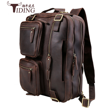 Backpacks  Multi-Function Crazy Horse Genuine Leather Brand Backpack Travel Bag Men's Luggage Vintage  shoulder Weekend Bag a2015 brand new crazy horse genuine leather