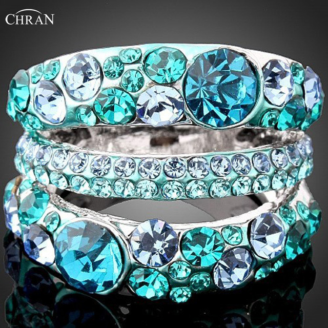 Chran Wholesale Promotion Austrian Crystal Rhinestone Rings for Women and Men Silver color Jewelry Accessories Free Shipping