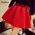 2016 Summer Skirts Women Red Neoprene Space Cotton High Waist Black Pink Pleated Skirt Cute Vintage Mini Short Skirt faldas jupe