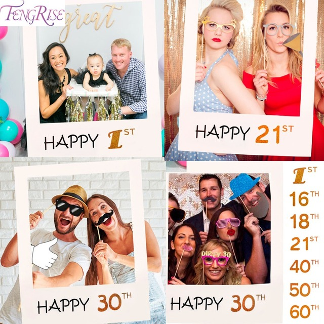 FENGRISE Photo Frame 1st Birthday 30th 40th Photo Booth Props 16 18 ...