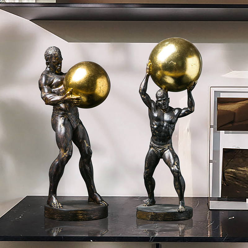 Modern Creative Strong Man Holding A Golden Ball Vintage Statue Home Decor Crafts Room Decoration Objects Office Resin Figurines