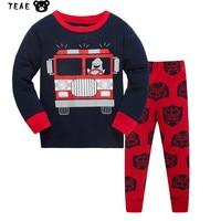 3 8T Boys Pyjama Set Printing Cartoon Car Plane UFO Cotton Nightgown Kids T Shirt Pants