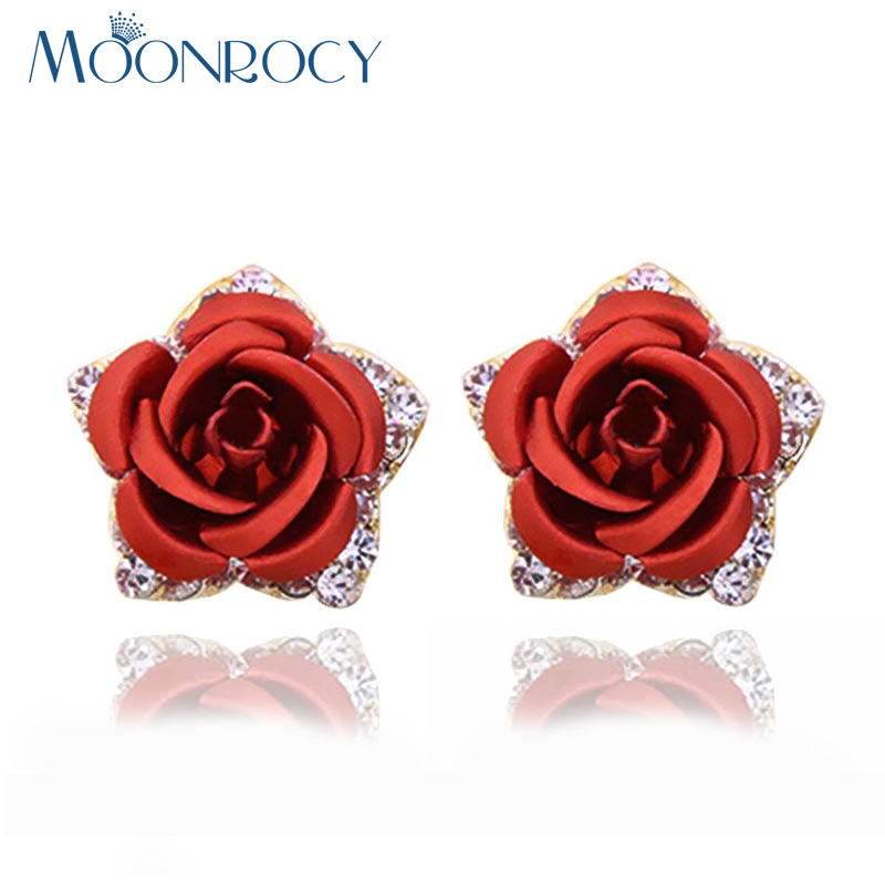 MOONROCY Free Shipping Fashion Rose Gold Color Jewelry Flower Red Blue Purple CZ Austrian Crystal Earrings For Women gift
