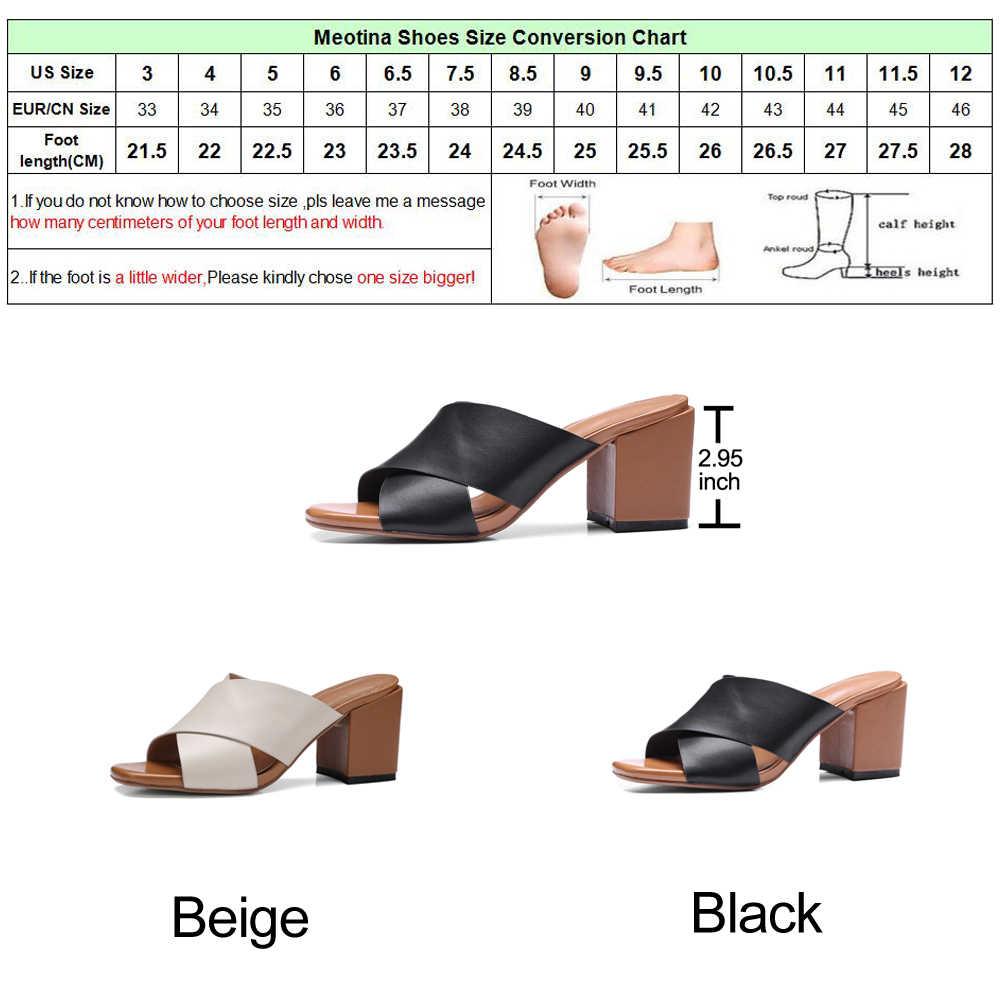Meotina אמיתי עור סנדלי נעלי נשים עקב גבוהה שקופיות פרדות נעלי עור אמיתי נעלי קיץ נעלי בית גדול גודל 10 11 44 45
