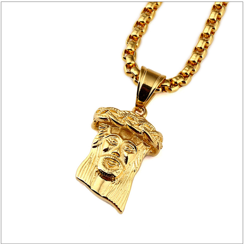 New trendy new golden jesus head jesus piece pendant hip hop new trendy new golden jesus head jesus piece pendant hip hop necklaces titanium steel cuban link chain rapper dance jewelry in pendant necklaces from aloadofball Images