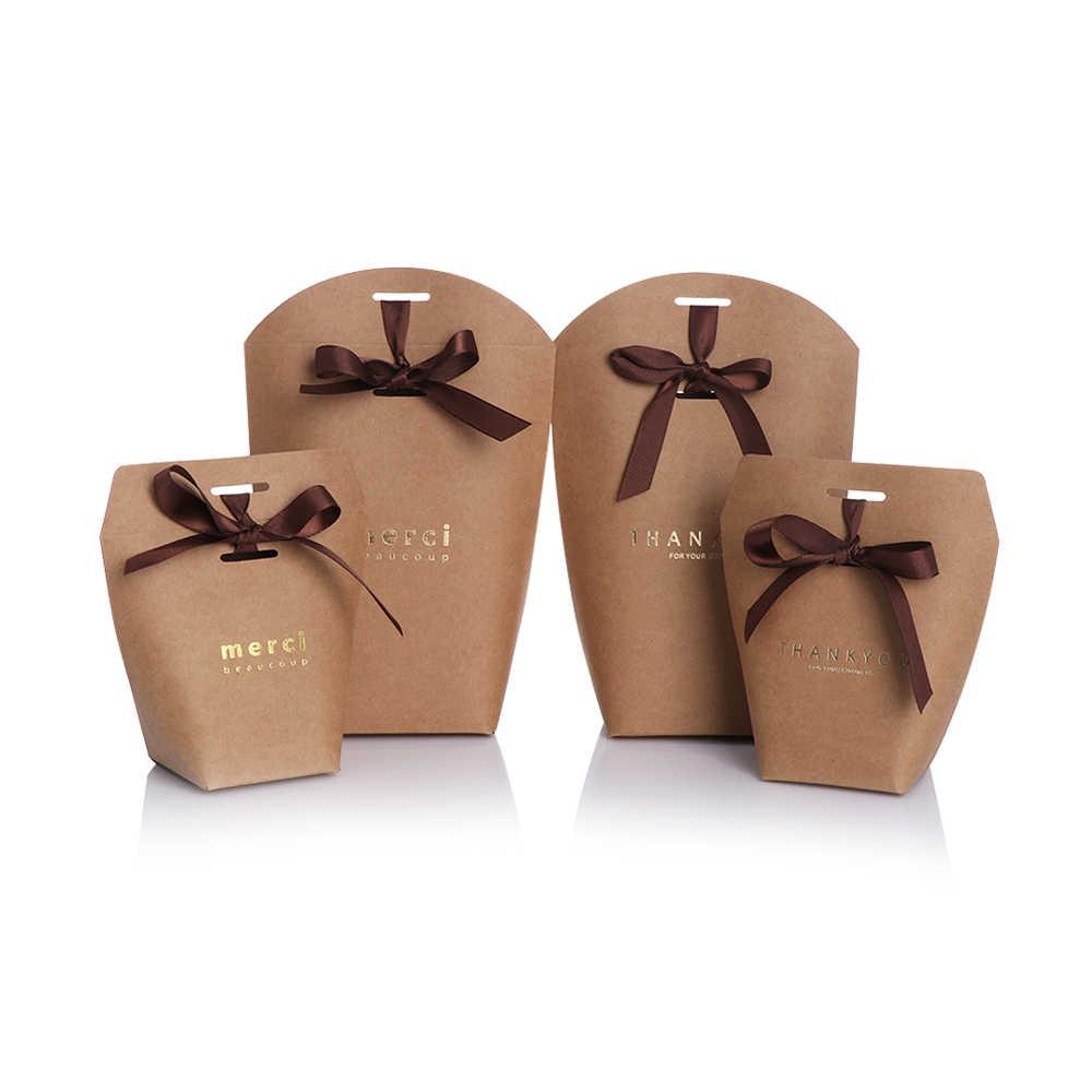 """5 יחידות צרפתית תודה חתונה טובות אריזת מתנה חבילה מסיבת יום הולדת לטובת שקיות שחור לבן Bronzing """"Merci"""" סוכריות תיק מנשא"""