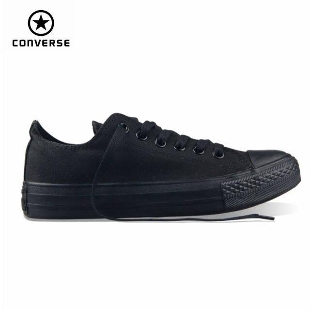 Klasik Asli Converse ALL STAR Pria dan Wanita Sneakers Bahan Kanvas Hitam  dan Beige Rendah Skateboard c88ee04392