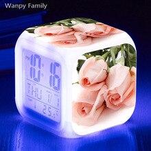 Pink rose flower Alarm Clock 7 Color Change Glowing LED Digital Childrens room Desktop Multi-fonction Watches