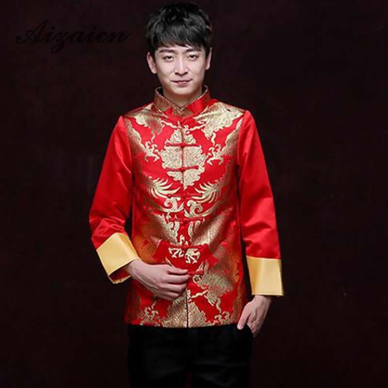 Röda Traditionella Kinesiska Kläder För Män Bröllop Ancient - Nationella kläder - Foto 6