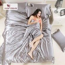 Slowdream Grey Silk Satin Bedding Set Solid Color Bed Linen Silver Duvet Cover Set Soft Tencel Flat Sheet 3Pcs or 4Pcs 2 0m 3pcs simple solid colour bed sheet set
