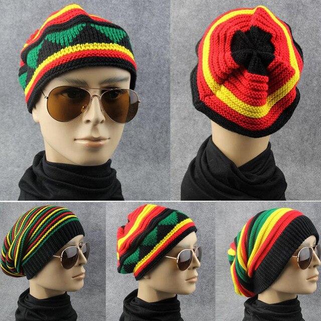 0db6eae27c2 Men Women Hip Hop Cap Winter Spring Warm Wool Knitted Hat Rainbow Striped  Beanies Hats Female Male Baggy Caps Streetwear Gorros