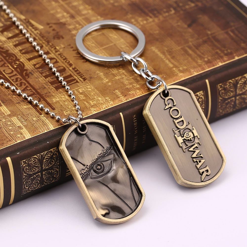 HSIC 10pcs/lot GOD OF WAR 3 Keychain Games PS4 Jewelry Zinc Alloy Bronze/Silver Dog Tag Key Chain Ring llaveros Wholesale 11737