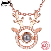 SILVERCUTE Deer Antlers Custom Necklace I Love You in 100 Languages 925 Sterling Silver Nano Engraved Name Jewelry SCIP6510B