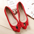 Free shipping red toe head single shoes flat bridal wedding shoes large size shoes