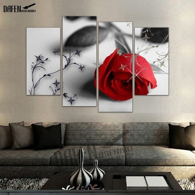 4 panel enmarcado imagen rosas rojas para Sala de Arte de la pared ...